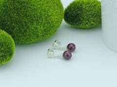 Ruby Round Earrings - Ruby with Pearl, and Sterling Silver fancy studs