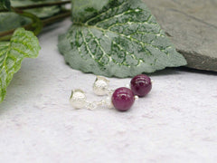 Ruby Round Earrings - Ruby and Pearl, Sterling Silver