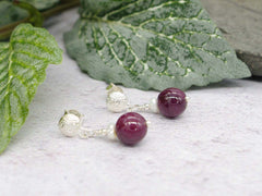 Ruby Round Earrings - Ruby and Pearl on Sterling Silver