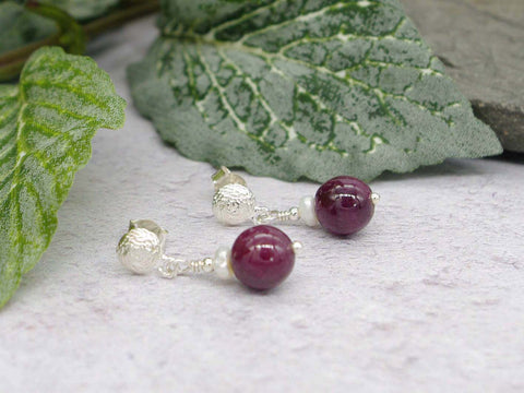 Ruby Round Earrings - Ruby with Pearl, Sterling Silver