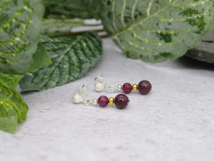 Ruby Stardust Earrings - Ruby with Stardust Sterling Silver Studs