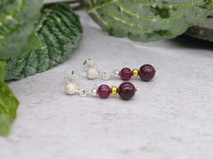 Ruby Earrings - Rubies with Stardust Sterling Silver Studs