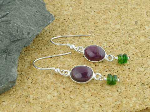 Ruby Delight Earrings - Sterling Silver, Ruby & Russian Diopsides
