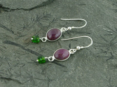 Ruby Delight Earrings - Sterling Silver with Ruby & Russian Diopsides