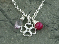 Pink Ruby and Lavender Amethyst Silver Charm Bracelet