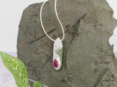 Ruby Runic Sterling Silver Necklace on snake chain