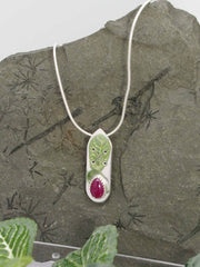 Ruby Runic Sterling Silver Pendant Necklace on snake chain