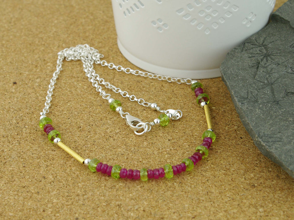 Ruby Rush Necklace from Jewellery by Linda - Ruby & Peridot with Gold & Silver