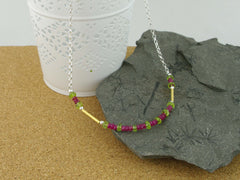 Ruby Rush Necklace from Jewellery by Linda - Ruby & Peridot, Gold & Silver