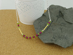 Ruby Rush Necklace - Ruby & Peridot with Gold & Silver from Jewellery by Linda
