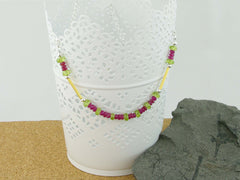Ruby Rush Necklace - Ruby & Peridot, Gold & Silver from Jewellery by Linda