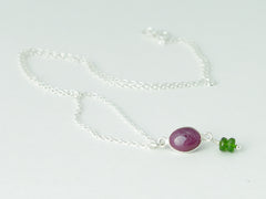 Ruby Delight Necklace - Petite Cabochon drop of Ruby & Russian Diopsides