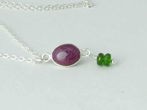 Ruby Delight Necklace - Petite drop of Ruby with Russian Diopsides