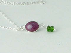 Ruby Delight Necklace - Petite Cabochon drop of Ruby accented with Russian Diopsides