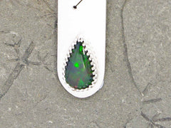 Rune necklace with black opal with green flashes on sterling silver