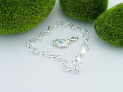 Swiss Blue Topaz Solid Sterling Silver Pebble Charm