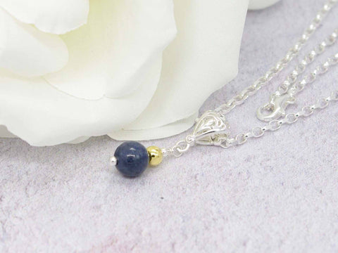 Sapphire Sphere - Sapphire Sterling Silver Filigree Bail Necklace