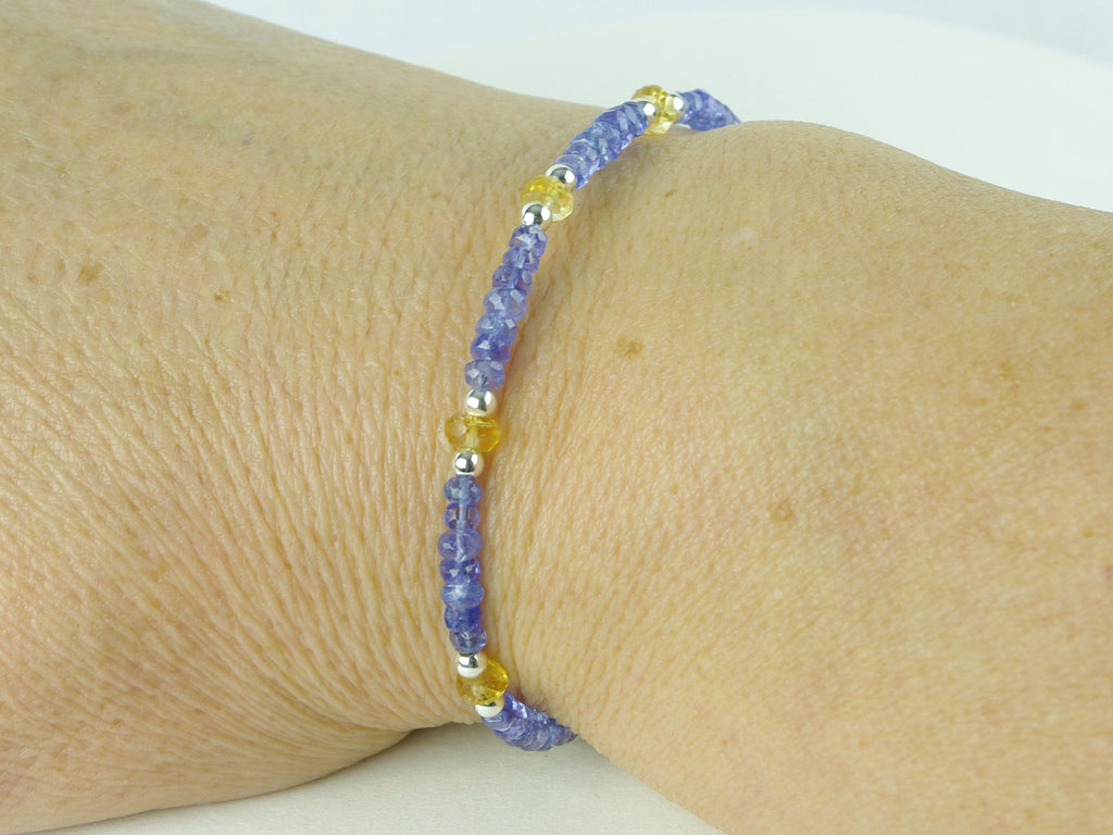 Serene Bracelet - Tanzanite, Citrine, Sterling Silver shown worn