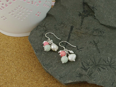 Serenity Earrings - Exquisite Pearl, Jadeite and Coral Sterling Silver Earrings