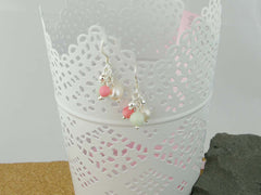 Serenity Earrings - Exquisite Pearl, Jadeite and Coral Sterling Silver Earrings. Pearls Collection at Jewellery by Linda