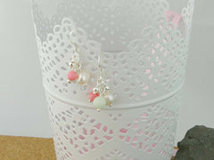 Serenity Earrings - Exquisite Pearl, Jadeite and Coral Sterling Silver Earrings. Jewellery by Linda Pearls Collection
