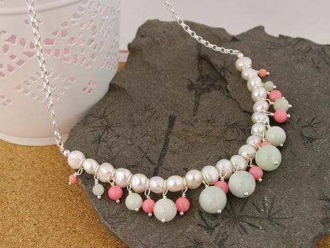 Serenity Necklace - Exquisite Pearl, Jadeite and Coral Sterling Silver Necklace