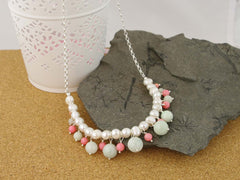 Serenity Necklace - Exquisite Pearl, Jadeite & Coral Sterling Silver Necklace at Jewellery by Linda