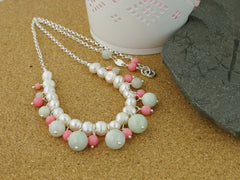 Serenity Necklace - Exquisite Pearl, Jadeite & Coral Sterling Silver Necklace.  Jewellery by Linda