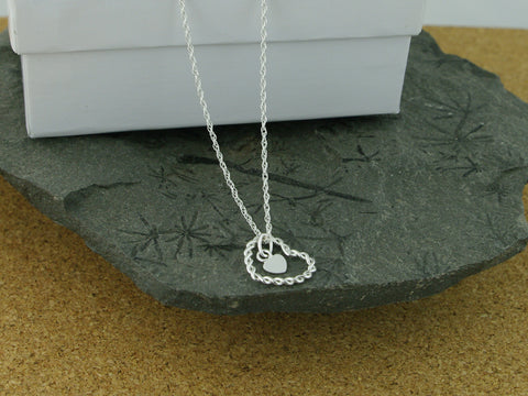 Heart within Heart Silver Necklace