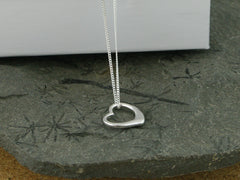Open Heart Sterling Silver Charm Necklace