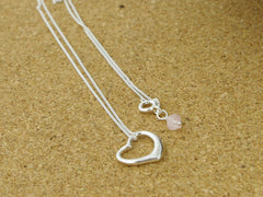Sterling Silver Open Heart Charm Necklace