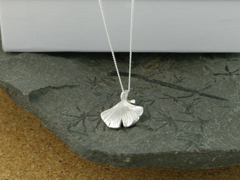 Ginko Charm Silver Necklace
