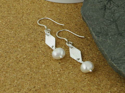 Silver Charm Pearl Earrings - Cultured Pearl Sterling Silver Earrings