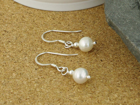 Simply Pearl Earrings - Cultured Pearl Sterling Silver Earrings