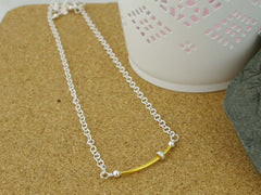 Fidget Necklace - Sterling Silver - Gold Plated Silver Tube and Petite Silver Ring