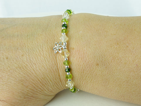 Spring Flower Bracelet - Peridot, Citrine, Diopside, Sterling Silver Charm