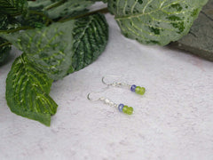 Star Peridot Earrings - Peridot, Tanzanite and Sterling Silver