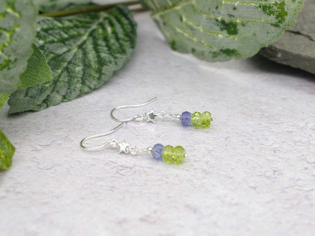 Star Peridot Earrings - Peridot, Tanzanite, Sterling Silver