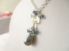 Starry Sky Necklace - Labradorite, London Blue Topaz, Sterling Silver