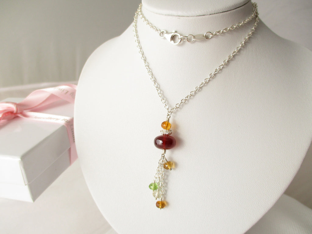Sunset Dreams Necklace - Garnet, Citrine, Peridot, Scapolite