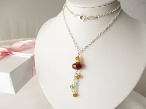 Sunset Dreams Necklace - Garnet, Citrine, Peridot, Sterling Silver