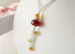 Sunset Dreams Necklace - Garnet, Peridot, Sterling Silver
