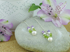 Sweeping Cluster Earrings - Pearl, Peridot, Lilac Opal, Sterling Silver from Jewellery by Linda