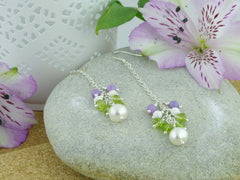 Jewellery by Linda Sweeping Cluster Earrings - Pearl, Peridot, Lilac Opal, Sterling Silver