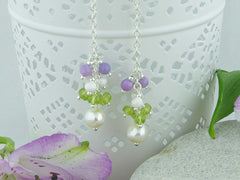 Sweeping Cluster Earrings - Pearl, Peridot, Lilac Opal on Sterling Silver from Jewellery by Linda