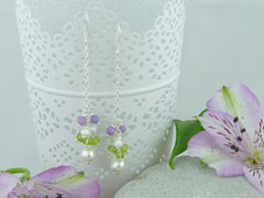 Jewellery by Linda Sweeping Cluster Earrings - Pearl, Peridot, Lilac Opal on Sterling Silver