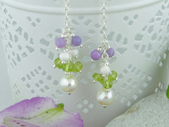 Sweeping Cluster Earrings - Pearl with Peridot, Lilac Opal, Sterling Silver