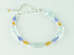 Sweet Dreams Bracelet - Aquamarine, Tanzanite, Mandarin Garnet, Sterling Silver