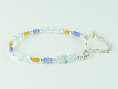 Sweet Dreams Bracelet - Aquamarine, Tanzanite & Mandarin Garnet, Sterling Silver