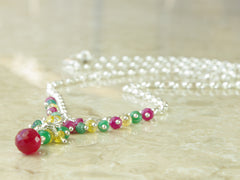 Titania Necklace - Exclusive & Handmade with Ruby, Yellow Sapphire & Emerald